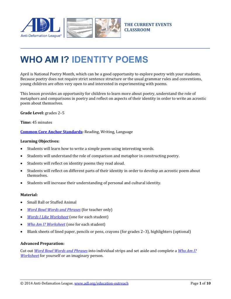 medium resolution of Who Am I? Identity Poems - Anti