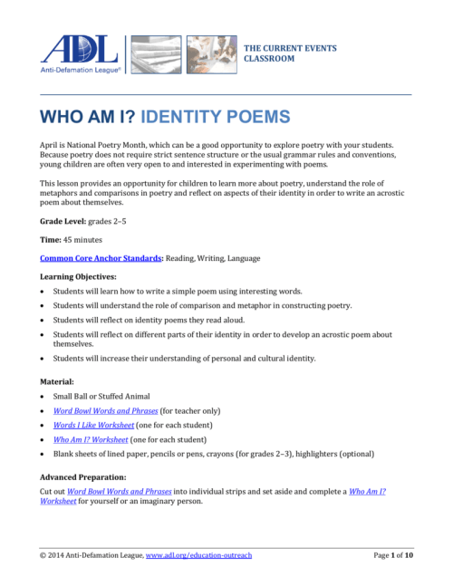 small resolution of Who Am I? Identity Poems - Anti