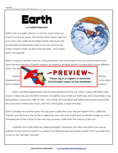 small resolution of Earth - Super Teacher Worksheets