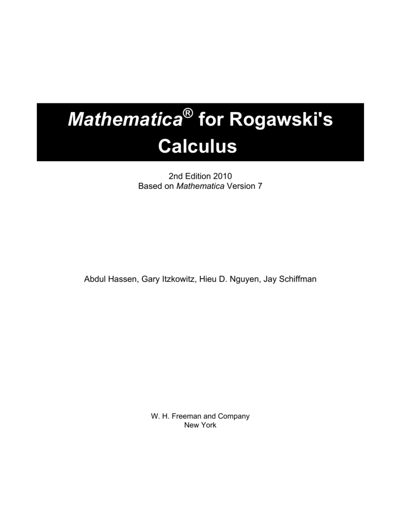 Calculus Early Transcendentals 4th Edition Rogawski