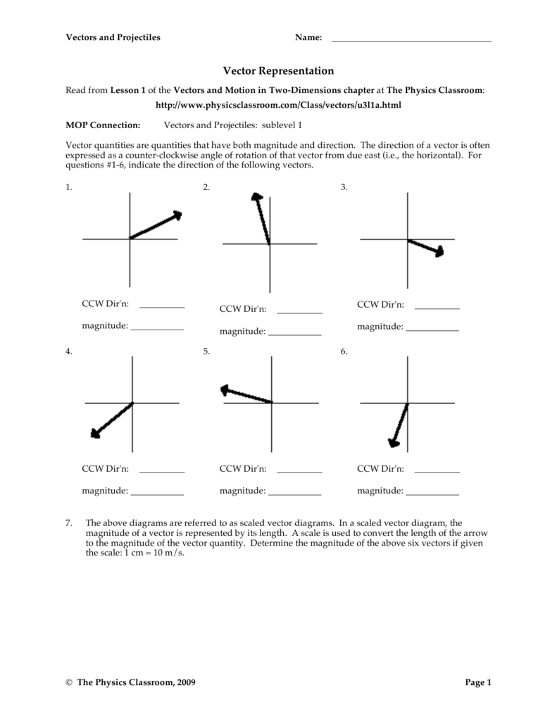 Newest Vectors and Projectiles Worksheet