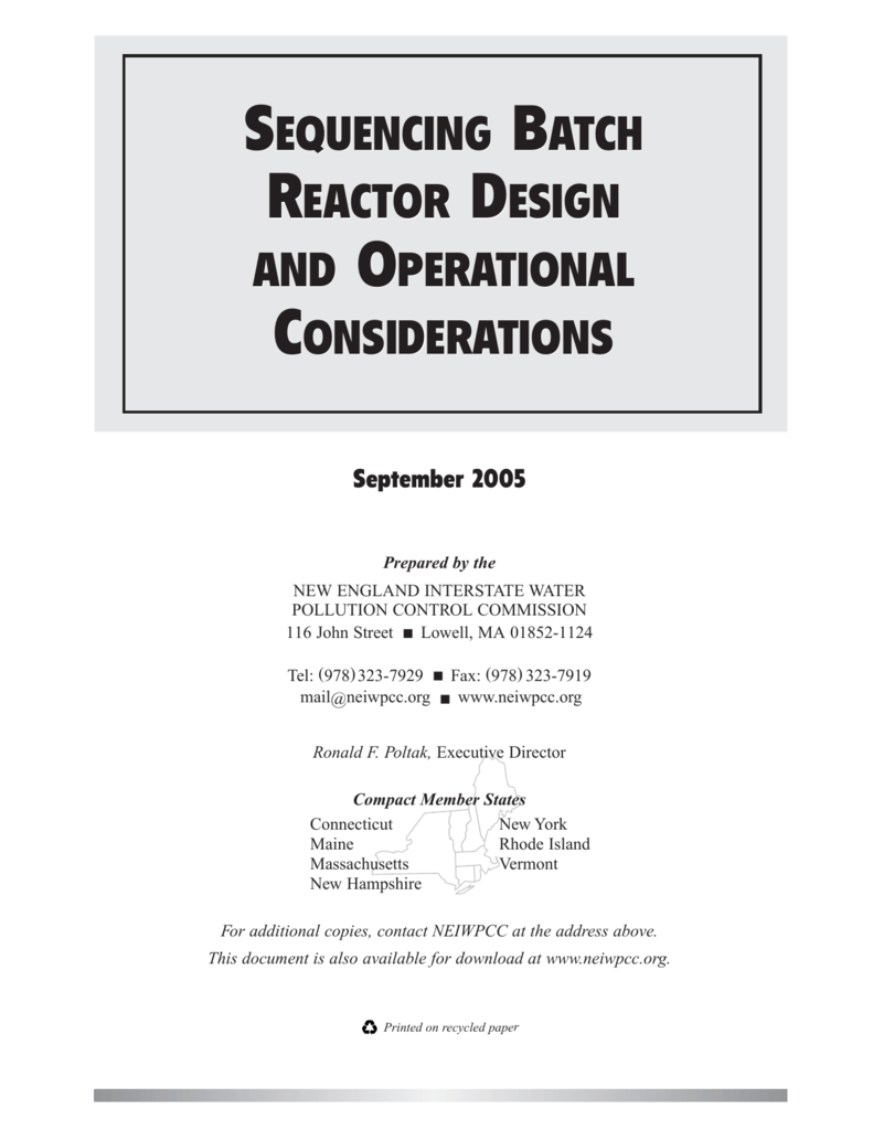 Sequencing Batch Reactor Design and Operational