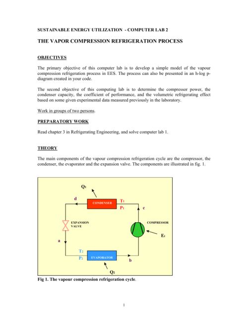 small resolution of sustainable energy utilization computer lab 2 the vapor compression refrigeration process objectives the primary objective of this computer lab is to