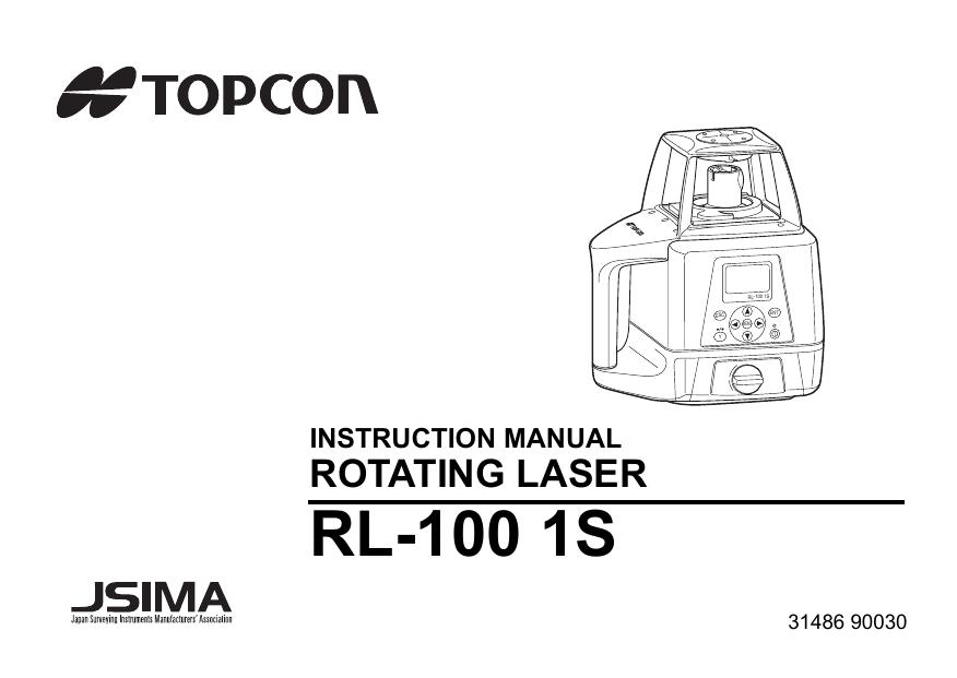 Topcon RL-100 1S User Manual