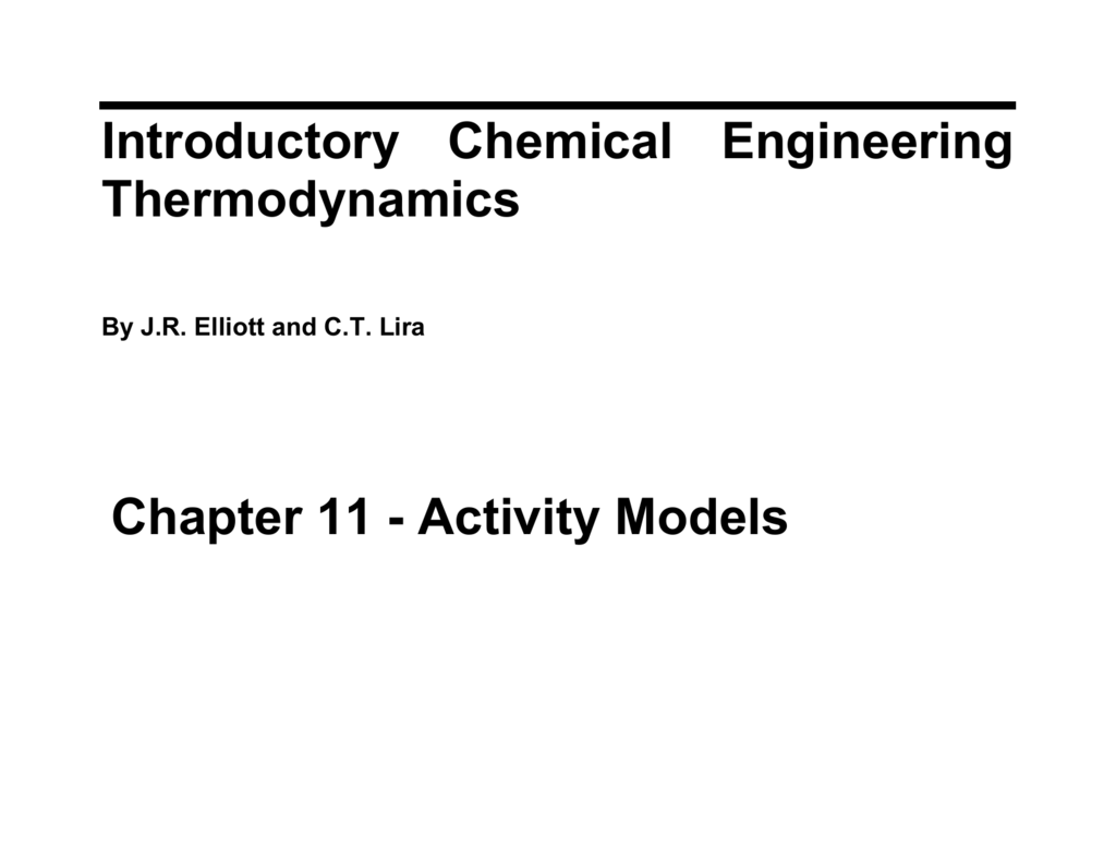 Introductory Chemical Engineering Thermodynamics Chapter 11