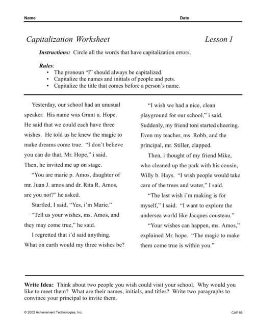 small resolution of Capitalization Worksheet Lesson 1