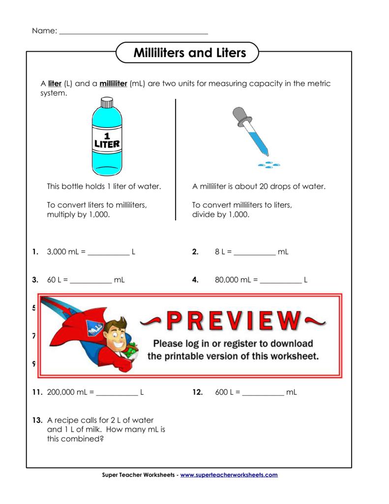 medium resolution of Milliliters and Liters - Super Teacher Worksheets