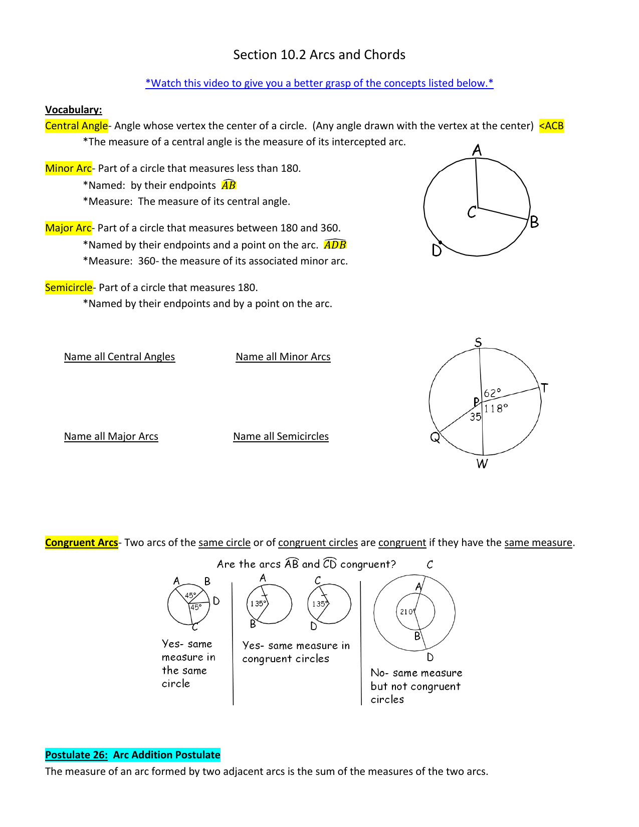 Angles And Arcs Worksheet