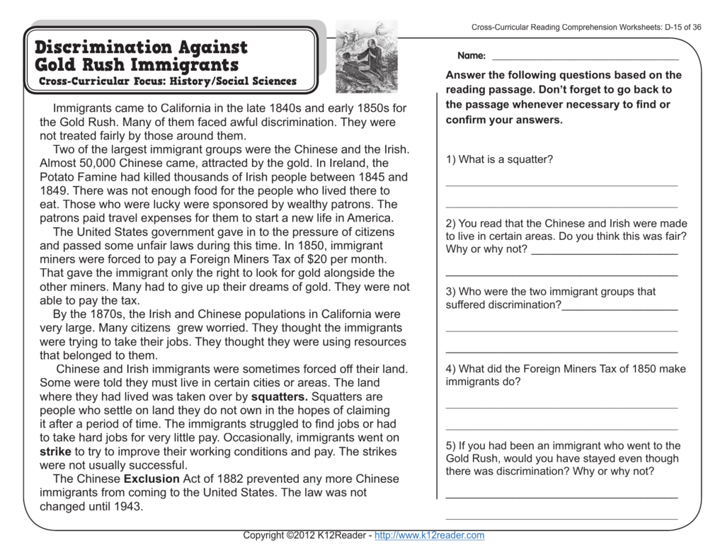 4th Grade Listening Comprehension Worksheet