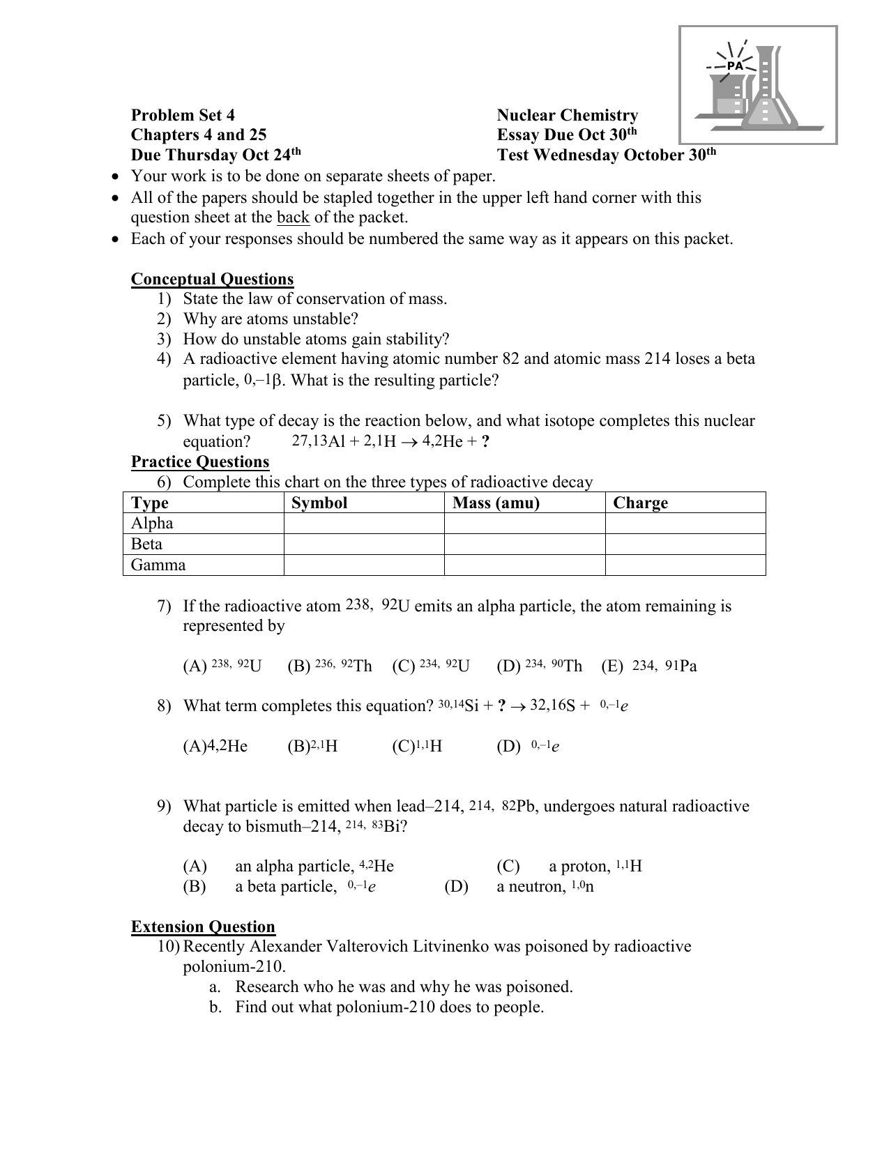 Chapter 25 Nuclear Chemistry Worksheet Answers