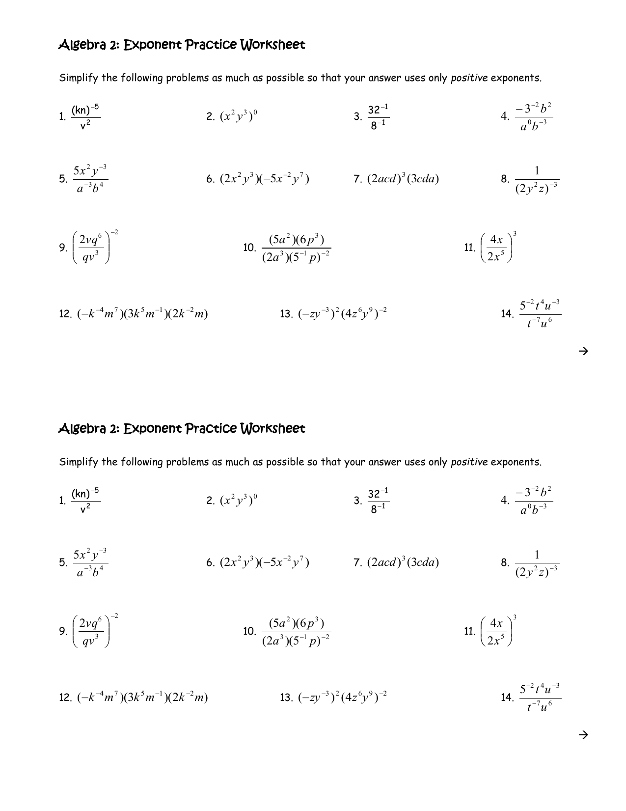 Properties Of Exponents Worksheet Algebra 2