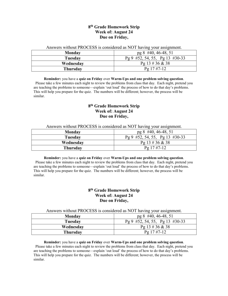 hight resolution of 8th Grade Homework Strip
