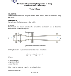 mechanical engineering programme of study fluid mechanics laboratory venturi meter objective to find the water flow rate using the venturi meter and the  [ 791 x 1024 Pixel ]