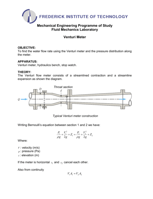 small resolution of mechanical engineering programme of study fluid mechanics laboratory venturi meter objective to find the water flow rate using the venturi meter and the