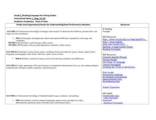 small resolution of Grade 5 Reading/Language Arts Pacing Guides Instructional Week