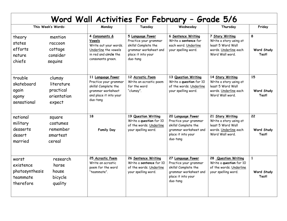 medium resolution of Word Wall Activities For February – Grade 5/6 This Week's Words