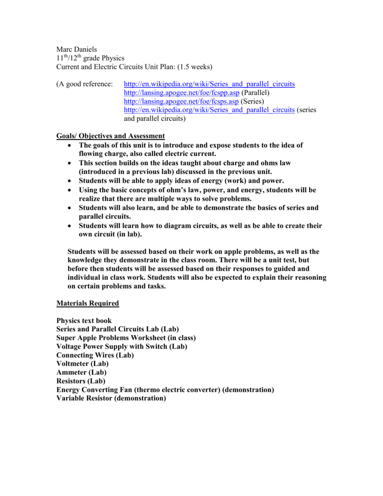 hight resolution of Current and Electric Circuits Lesson Plans