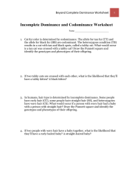 worksheet. Incomplete Dominance And Codominance Worksheet ...