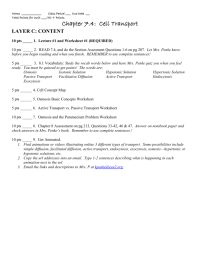 Facilitated Diffusion Worksheet Answers. Worksheets