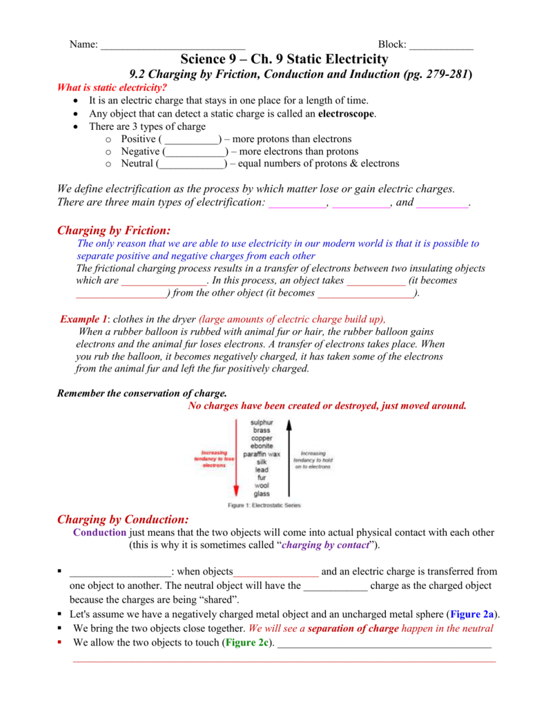 hight resolution of Charge And Electricity Worksheet Answers - Promotiontablecovers