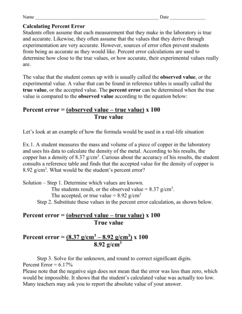 small resolution of Percent Error Worksheet Answer Key - Promotiontablecovers