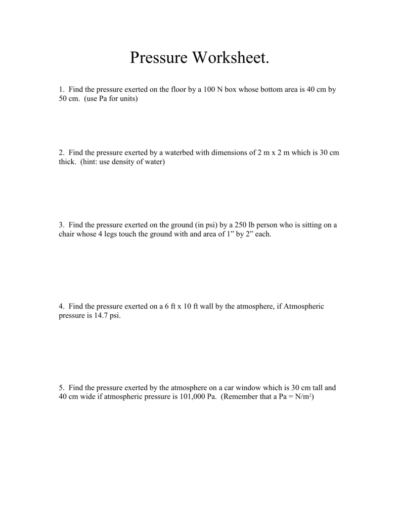 hight resolution of Pressure Worksheet