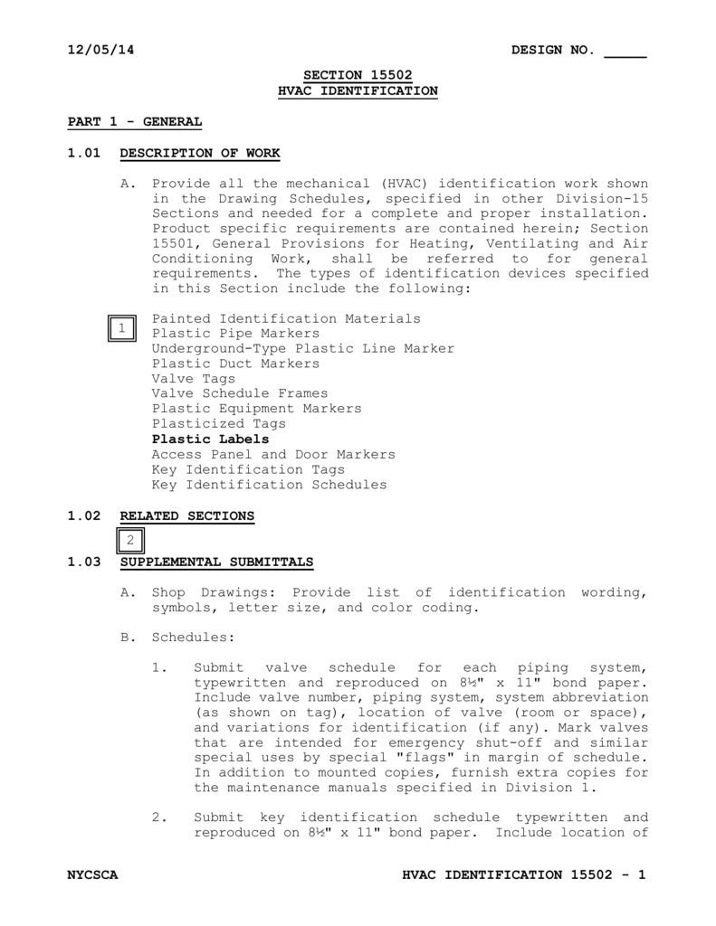 hight resolution of  section 15502 hvac identification part 1 general 1 01 description of work a painted identification materials plastic pipe markers underground type