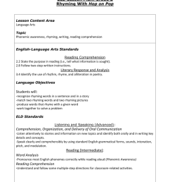 2nd Grade ELD Lesson Plan Rhyming [ 1024 x 791 Pixel ]