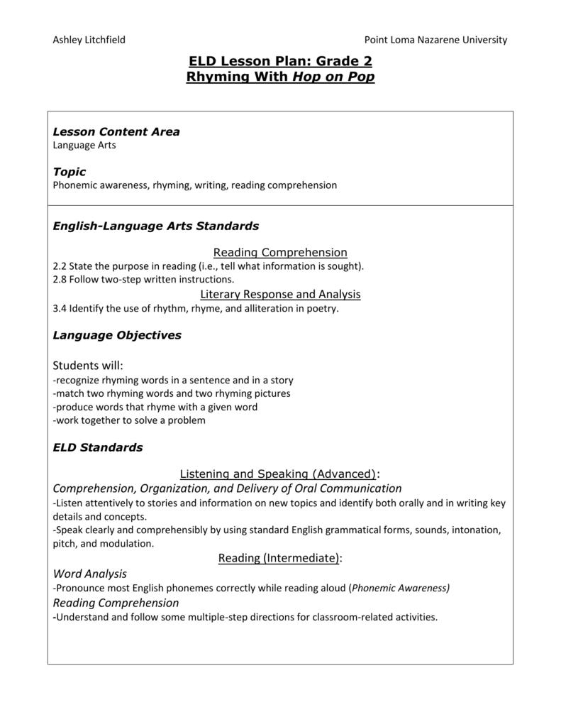 hight resolution of 2nd Grade ELD Lesson Plan Rhyming