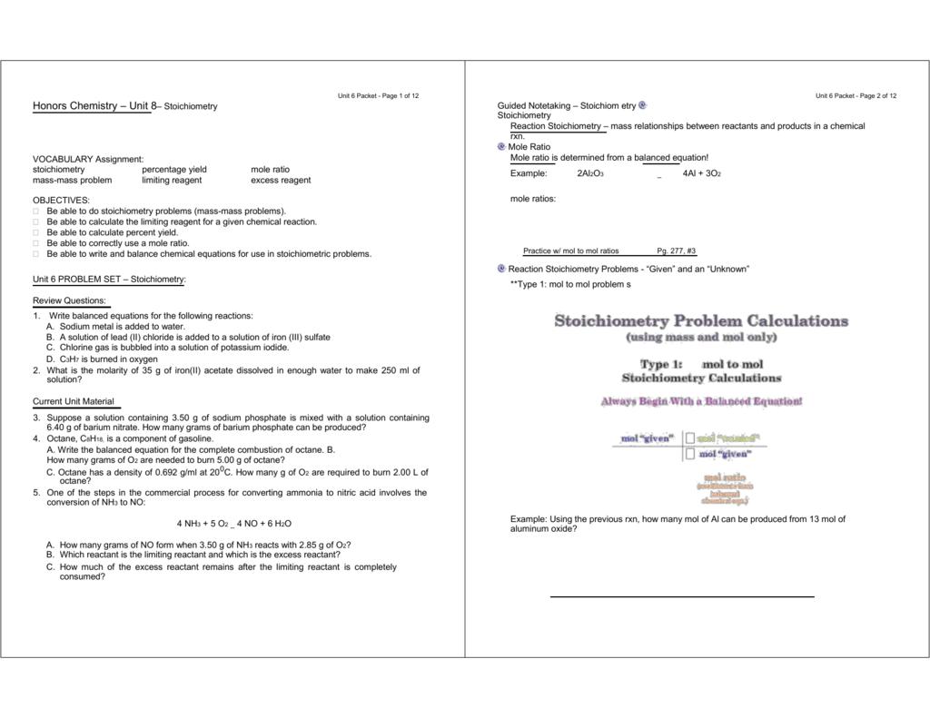 Chemistry Worksheet Limiting Reactant Worksheet 1 Thru 8