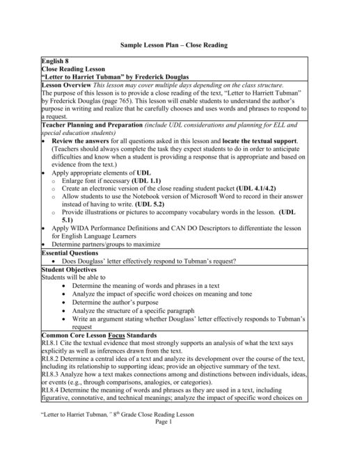 small resolution of Sample Lesson Plan – Close Reading English 8 Close Reading