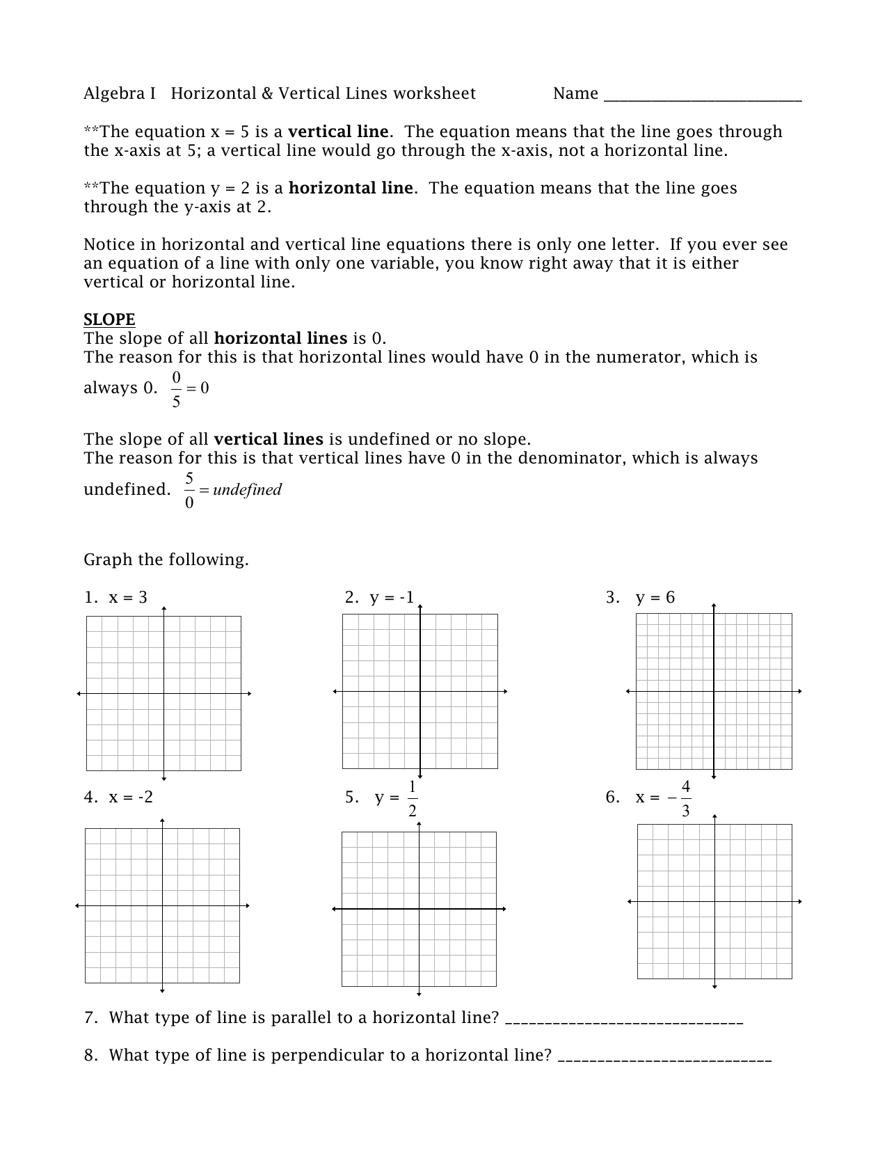 Algebra I Horizontal Amp Vertical Lines Worksheet