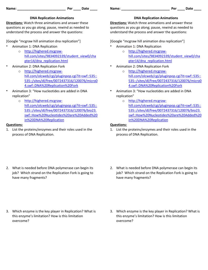 worksheet dna molecule and replication worksheet grass
