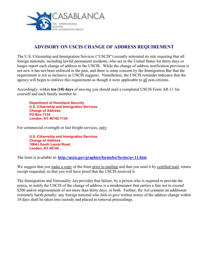 Green Card Change Of Address Form Ar 11 Cardss