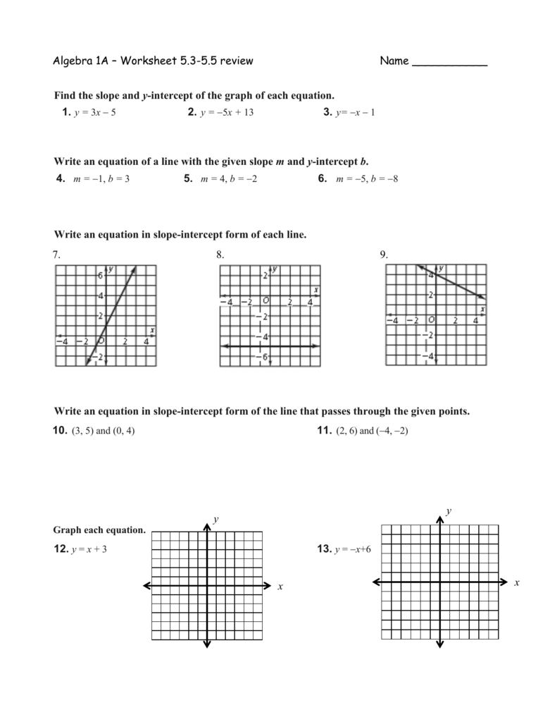 Point Slope Form Practice Worksheet Answers : point, slope, practice, worksheet, answers, Algebra, Worksheet