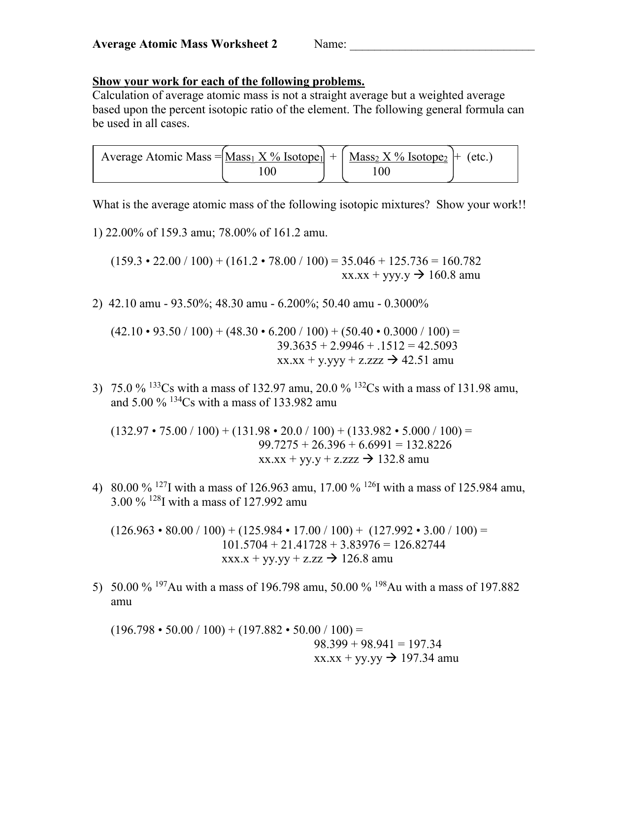 02 06 Average Atomic Mass Worksheet 2