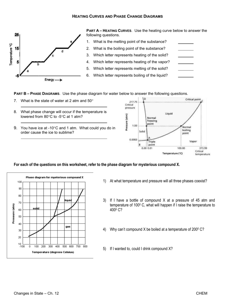hight resolution of heating curves and phase change diagrams part a heating curves use the heating curve below to answer the following questions 1