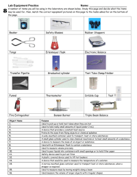 Chemistry Lab Equipment Worksheet