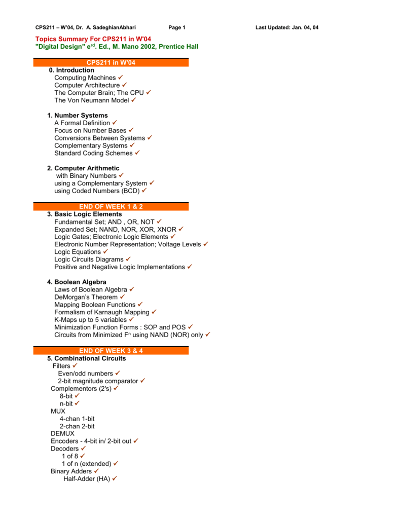 medium resolution of cps211 w 04 dr a sadeghianabhari page 1 topics summary for cps211 in w 04 digital design erd ed m mano 2002 prentice hall cps211 in w 04 0