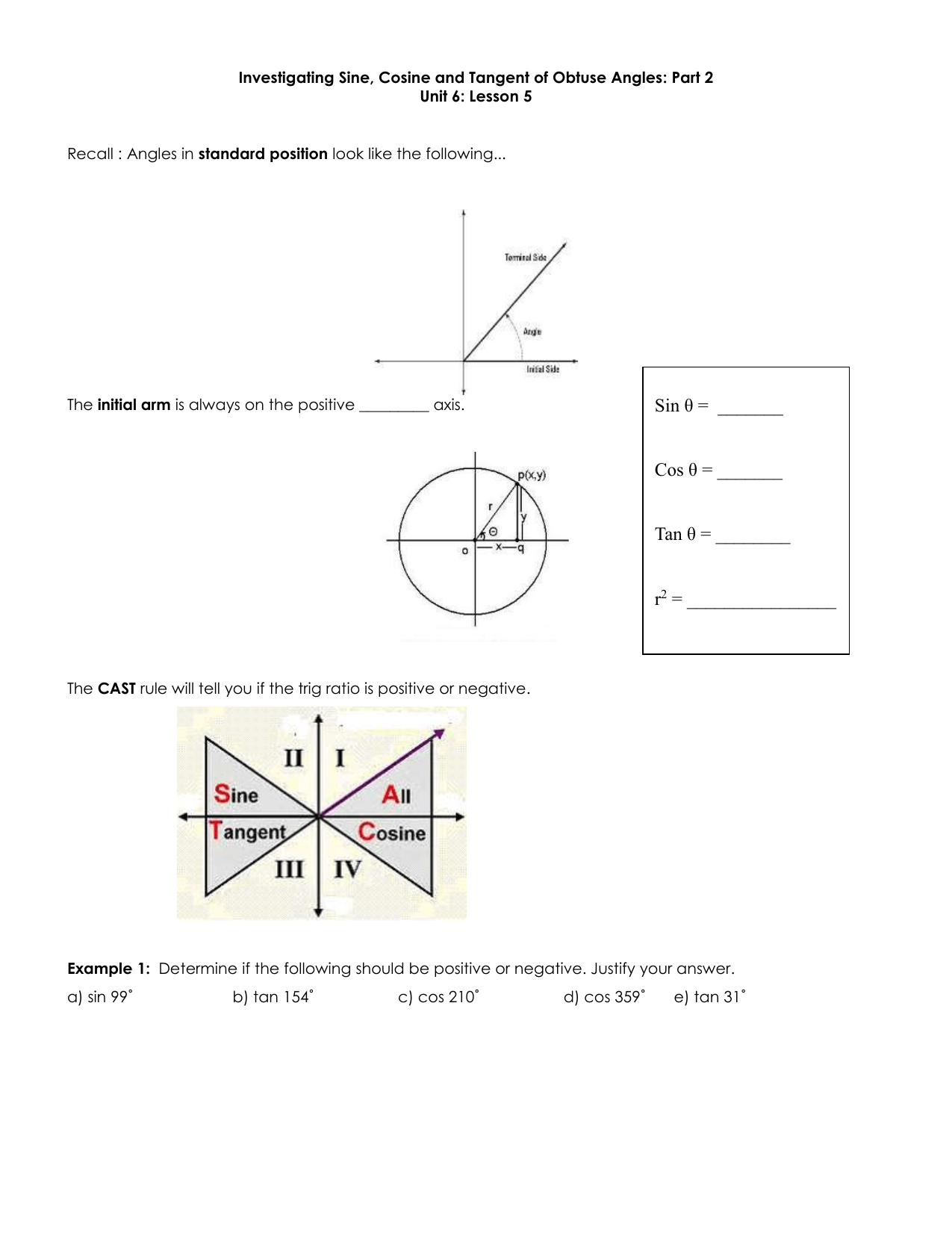 Angles In Standard Position Worksheet Answer Key