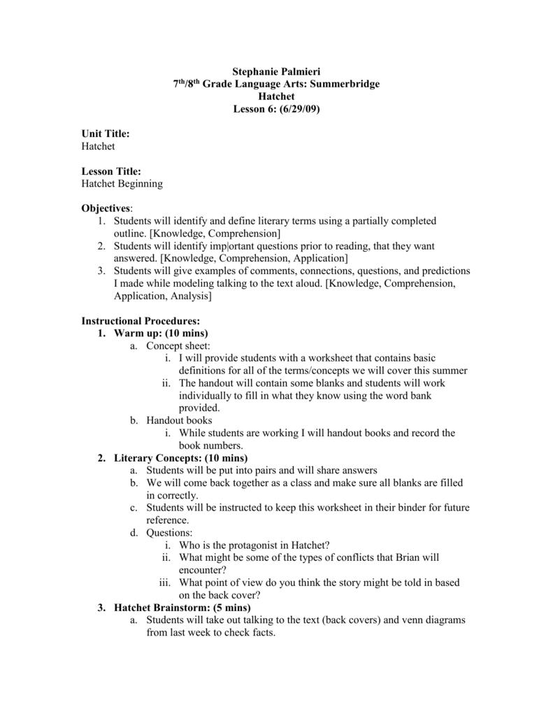 medium resolution of Hatchet Lessons Week 2