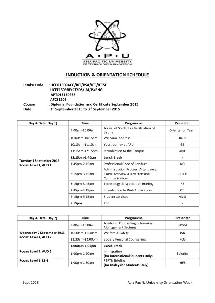 Diploma, Foundation and Certificate September 2015