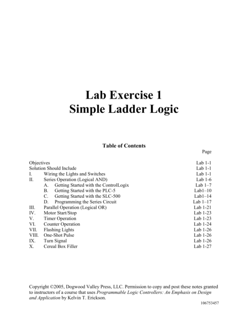 small resolution of lab exercise 1 simple ladder logic table of contents page objectives solution should include i wiring the lights and switches ii