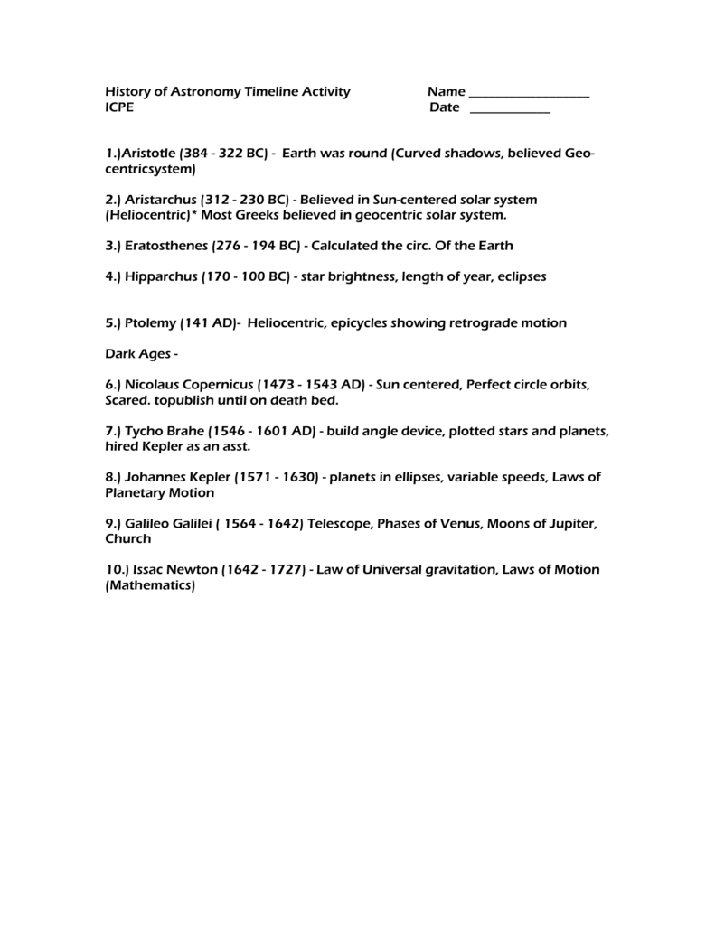 medium resolution of History Of Astronomy Timeline Worksheet - The Best Picture History