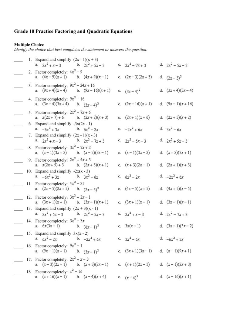 hight resolution of Quadratic Formula Quadratic Equations Worksheet Grade 10