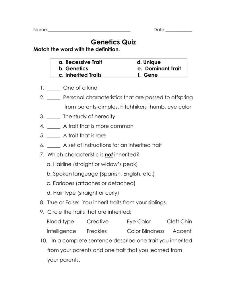 medium resolution of GeneticsInheritedTraitsQuiz
