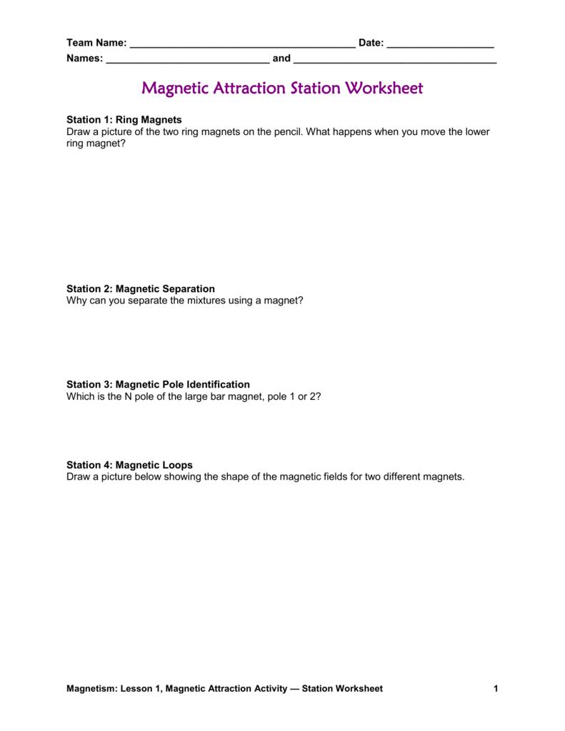 medium resolution of Magnetic Attraction Worksheet
