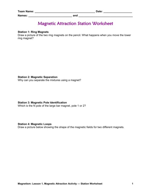 small resolution of Magnetic Attraction Worksheet