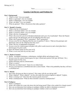 Linked Traits Worksheet