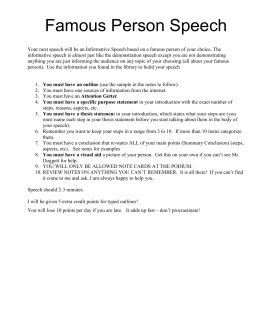 Impromptu Speeches – Definition Speech 1. You will pick 3 cards